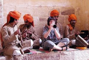 Jodhpur fort Miriam with musicians